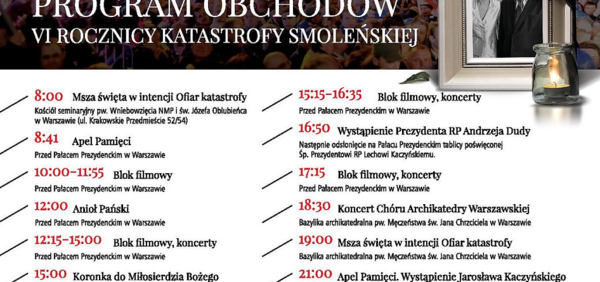 obchody centralne katastrofy smoleńskiej 2016