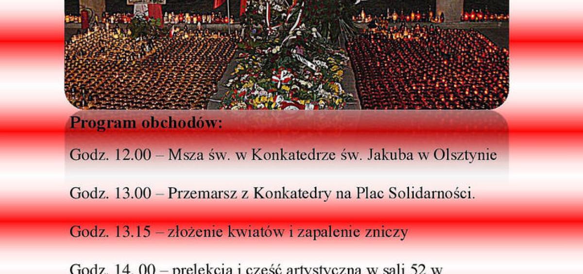 program ochodów VI rocznicy katastrofy smoleńskiej w Olsztynie